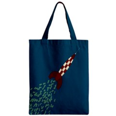 Rocket Ship Space Blue Sky Red White Fly Zipper Classic Tote Bag