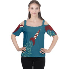 Rocket Ship Space Blue Sky Red White Fly Women s Cutout Shoulder Tee