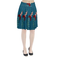 Rocket Ship Space Blue Sky Red White Fly Pleated Skirt