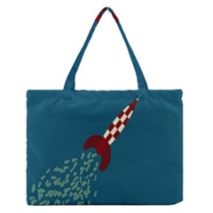 Rocket Ship Space Blue Sky Red White Fly Medium Zipper Tote Bag
