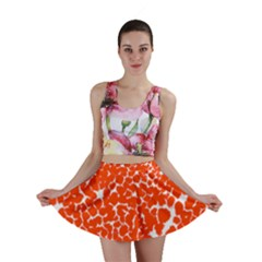 Red Spot Paint White Mini Skirt