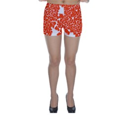 Red Spot Paint White Skinny Shorts