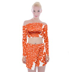 Red Spot Paint White Off Shoulder Top With Skirt Set