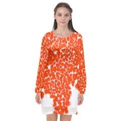 Red Spot Paint White Long Sleeve Chiffon Shift Dress