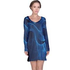 Smoke White Blue Long Sleeve Nightdress