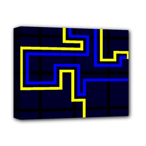 Tron Light Walls Arcade Style Line Yellow Blue Deluxe Canvas 14  x 11