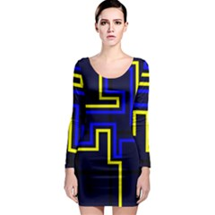 Tron Light Walls Arcade Style Line Yellow Blue Long Sleeve Bodycon Dress