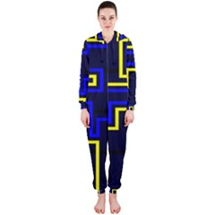 Tron Light Walls Arcade Style Line Yellow Blue Hooded Jumpsuit (Ladies)