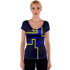 Tron Light Walls Arcade Style Line Yellow Blue Women s V-Neck Cap Sleeve Top