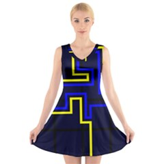 Tron Light Walls Arcade Style Line Yellow Blue V-Neck Sleeveless Skater Dress