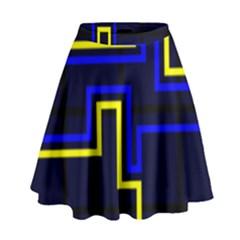 Tron Light Walls Arcade Style Line Yellow Blue High Waist Skirt