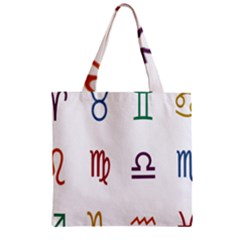 Twelve Signs Zodiac Color Star Zipper Grocery Tote Bag