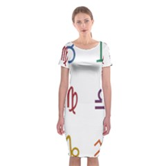 Twelve Signs Zodiac Color Star Classic Short Sleeve Midi Dress