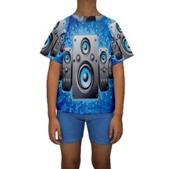 Sound System Music Disco Party Kids  Short Sleeve Swimwear