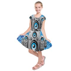 Sound System Music Disco Party Kids  Short Sleeve Dress