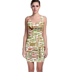 Screen Source Serif Text Sleeveless Bodycon Dress