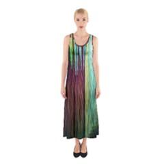 Screen Shot Line Vertical Rainbow Sleeveless Maxi Dress