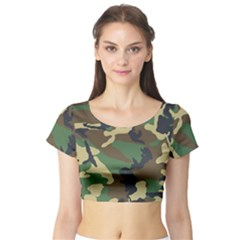 Camouflage Short Sleeve Crop Top (Tight Fit)