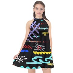 Funny Abstract Painting On Black Background Halter Neckline Chiffon Dress