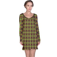 Kiwi Like Pattern Long Sleeve Nightdress