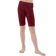 Red Roses Field Kids  Mid Length Swim Shorts