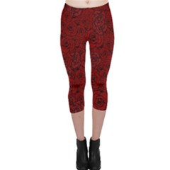 Red Roses Field Capri Leggings