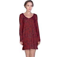 Red Roses Field Long Sleeve Nightdress