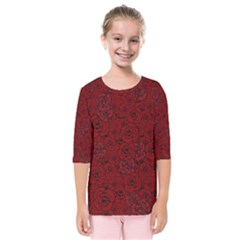 Red Roses Field Kids  Quarter Sleeve Raglan Tee