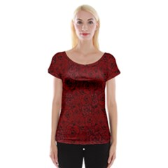 Red Roses Field Women s Cap Sleeve Top