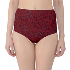 Red Roses Field High Waist Bikini Bottoms