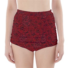 Red Roses Field High-Waisted Bikini Bottoms