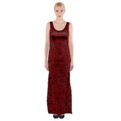 Red Roses Field Maxi Thigh Split Dress
