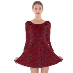 Red Roses Field Long Sleeve Velvet Skater Dress