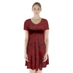Red Roses Field Short Sleeve V-neck Flare Dress