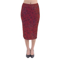 Red Roses Field Velvet Midi Pencil Skirt