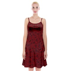 Red Roses Field Spaghetti Strap Velvet Dress
