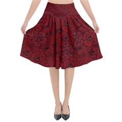 Red Roses Field Flared Midi Skirt