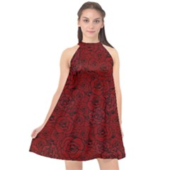 Red Roses Field Halter Neckline Chiffon Dress