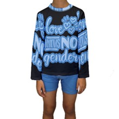 Love knows no gender Kids  Long Sleeve Swimwear
