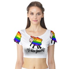 Rainbow sheep Short Sleeve Crop Top (Tight Fit)