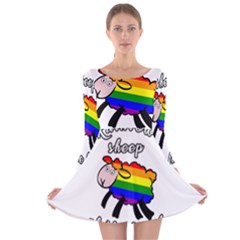 Rainbow sheep Long Sleeve Velvet Skater Dress