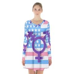 Transgender flag Long Sleeve Velvet V-neck Dress
