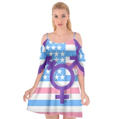 Transgender Flag Cutout Spaghetti Strap Chiffon Dress