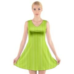 Lines pattern V-Neck Sleeveless Skater Dress