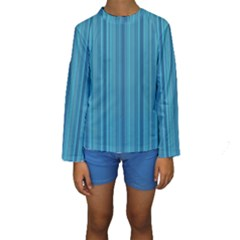 Lines pattern Kids  Long Sleeve Swimwear