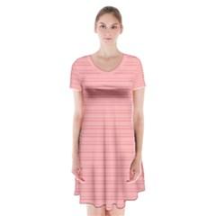 Lines pattern Short Sleeve V-neck Flare Dress