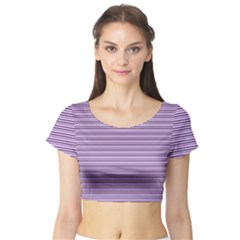 Lines pattern Short Sleeve Crop Top (Tight Fit)