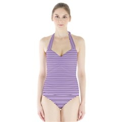 Lines pattern Halter Swimsuit