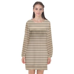Lines Pattern Long Sleeve Chiffon Shift Dress