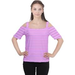 Lines pattern Women s Cutout Shoulder Tee